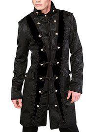 manteau-gothique-aderlass-comte-dracul en tissu brocarde alterné avec du velours et une doublure satin bordeaux