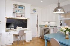 A kitchen desk, a blue table, and a chalkboard???  Thank you very much!