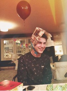 Dylan Minnette In His Birthday Hat