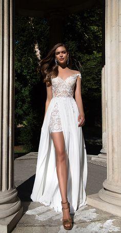 Abiye Modelleri beyaz kısa omuz yaka etek üstü tül detaylı | SadeKadınlar - Moda
