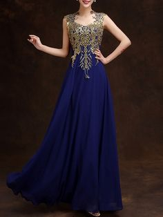 Embroidery Graceful Square Neck Party Dress navy blue or red are beautiful at fashionmia