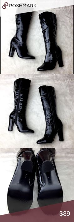 NWOB Steve Madden Matisse Patent Leather Boot Gorgeous and classic patent leather heeled boot that hits just below the knee. Leather upper, manmade sole. Never been worn. Minor, barely visible scuff to the toe of one boot, as seen in the last photo. Steve Madden Shoes Heeled Boots