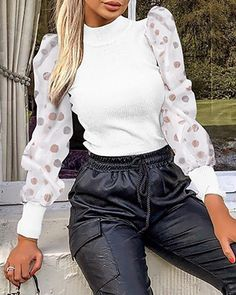 Classy Outfits, Cool Outfits, Fashion Outfits, Blouses For Women, Sweaters For Women, Estilo Fashion, Mesh Long Sleeve, Casual Jumpsuit, Winter Outfits Women