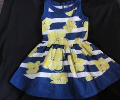 Gymboree Blue White Yellow Striped Floral Dress Pocket Full Of Sunshine 5T #Gymboree #CasualParty
