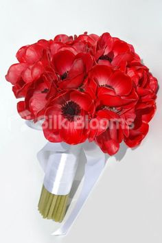 Red Real Touch Anemone Artificial Poppy Bridal Wedding Bouquet Red ...