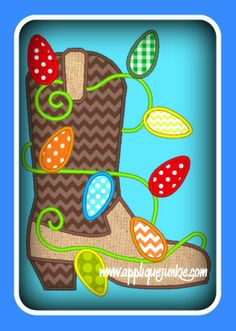 Christmas Boot with Lights Applique Design
