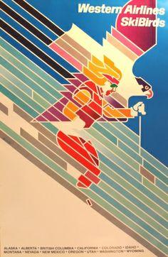 SkiBird Western Airlines, 1970s - original vintage poster by Don Weller listed on AntikBar.co.uk