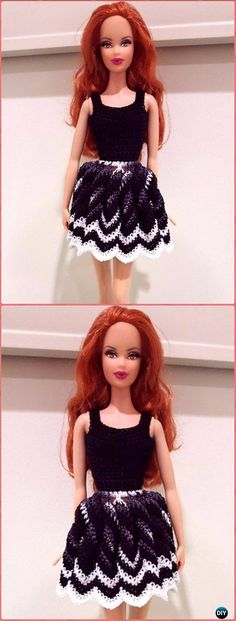 Crochet Barbie Twisted Chevron Dress Free Pattern - Crochet Barbie Fashion Doll Clothes Outfits Free Patterns