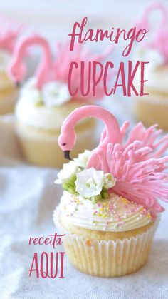 Summer Cupcake Recipes, Summer Cupcakes, Food Cakes, Flamingo Birthday, Flamingo Party, Cupcake Cookies, Sugar Cookies, Flamingo Cupcakes, Naked Cake