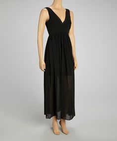 Take a look at this Black V-Neck Maxi Dress by Love Point on #zulily today!