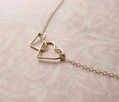 Double Heart Gold Necklace