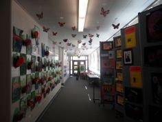 Faith Christian Academy, Kansas City, MO, make a hallway a gallery.  Hang from the ceiling too.