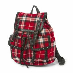 Plaid Backpack with Stud Detail