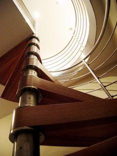 "Beautifully engineered spiral stair by ""caliper studio"""