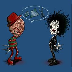 Freddy Krueger vs. Edward Scissorhands #rockpaperscissors #lol #humor