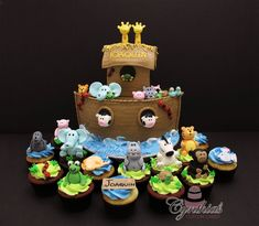 Noah's Ark cake and cupcakes