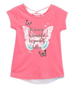 Another great find on #zulily! Hot Pink Sheer-Accent 'Be Strong' Tee - Toddler & Girls #zulilyfinds