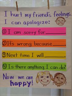 Demonstrate appropriate social and classroom behavior. This would show to the students the classroom way to apologize. Classroom Behavior, Kindergarten Classroom, Classroom Decor, First Days Of Kindergarten, Kindergarten Posters, Kindergarten Anchor Charts, Classroom Rules, Kindergarten Writing, Classroom Posters
