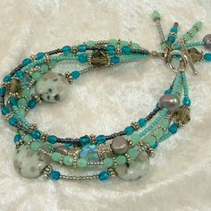 Turquoise Sesame Jasper Five Strand Beaded Bracelet with Dangles