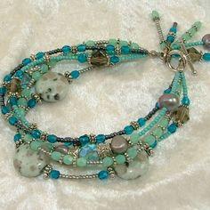 Turquoise Sesame Jasper Five Strand Beaded Bracelet with Dangles