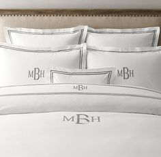 Italian Hotel Satin Stitch Bedding White Collection got to have monogram pillow cases..