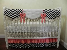 Baby Girl Bedding Set Antonia Black Gold and by BabyBeddingbyJBD