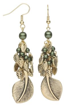 "Earrings with Czech Pressed Pearl Coated Glass Druk Beads and ""Pewter"" Charms - Fire Mountain Gems and Beads"