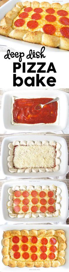 Deep Dish Pizza Bake. An easy pizza recipe idea. OMG! SO GOOD!