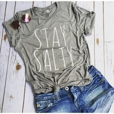 Stay Salty Beach Tee Shirt Beach Vibes Salty Hair Sandy Toes Beach... ($25) ❤ liked on Polyvore featuring tops, t-shirts, grey, tanks, women's clothing, gray t shirt, grey crew neck t shirt, beach t shirts, gray tees and crewneck t shirt