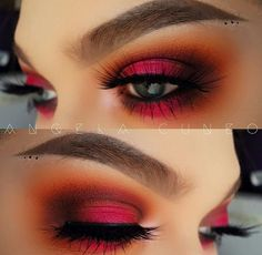 Evening Autumn & Winter eye makeup look, red eyes. Perfect for date night.