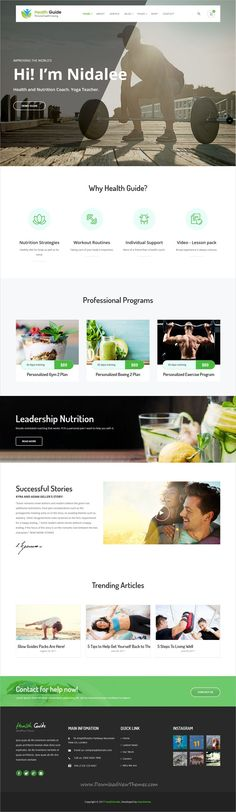 HealthGuide is clean and modern design 8in1 responsive #WordPress theme for #fitness, nutrition and life coaching #website download now