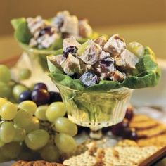 Serve this fruity, nutty chicken salad with assorted crackers and grapes for a filling lunch or a delicious brunch. Recipe: Chicken Salad with Grapes and Pecans Grape Recipes, Pecan Recipes, Cooking Recipes, Atkins Recipes, Yummy Recipes, Cooking Tips, Chicken Salad With Grapes, Grape Salad, Chicken Salads