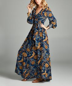 101850921bf Look at this Navy Floral Empire Waist Wrap Maxi Dress on  zulily today! Maxi