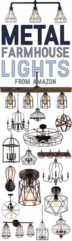 Metal and Wire Farmhouse Style Chandeliers and Light Fixtures from Amazon-www.themountainviewcottage.net.jpg