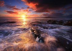 beautiful nature, beautiful ocean, waves, sunset, rocks, Rangitoto_1528b.jpg
