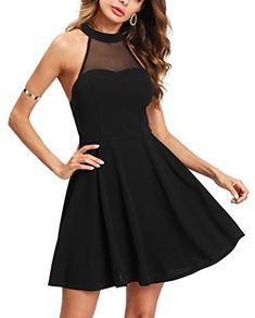 94948c6fe2b Verdusa Women s Sleeveless Open Back Fit and Flare Flowy Skater Dress Black  S. Fashion   Co · Summer Outfits