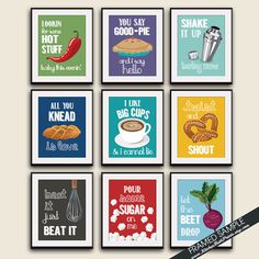 Funny Kitchen Song Series  Set of 9 Art Prints Featured in