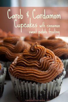 One Bowl Grain-Free Carob Cardamom Cupcakes with Cinnamon Sweet Potato Frosting – Grain Free with vegan option