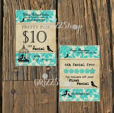 Salon Coupon Business Card by GrizzShop on Etsy, $25.00