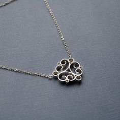 bright scroll necklace sterling silver by alisamiller on Etsy