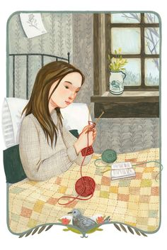 quenalbertini: Knitting in bed by Rebecca Green - inbed.quenalbertini: Knitting in bed by Rebecca Green - History of Knitting Yarn spinning, weaving and sewi. Knitting Quotes, Knitting Humor, Knitting Blogs, Knitting Yarn, Knitting Projects, Knitting Patterns, Knitting Ideas, Art And Illustration, Illustrations