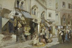 Louis Comfort Tiffany, Algerian Shops, c. 1872-1887, Sheet: 21 3/16 × 31 3/16 inches, Opaque watercolor with brush and ink and red chalk on board, Baltimore Museum of Art.