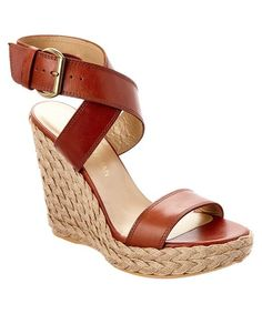 Stuart Weitzman Crossover Leather Wedge Sandal