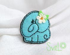 Aquamarine Felt Brooch. Little Elephant.Hand by SvitLoShop on Etsy
