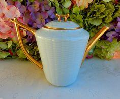 Beautiful Haviland Limoges Porcelain Coffee Pot ~ White ~ Basketweave ~ Gold #HavilandLimoges