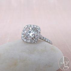 1.30ct Round Brilliant Diamond Halo Ring, AGS000 G VS2