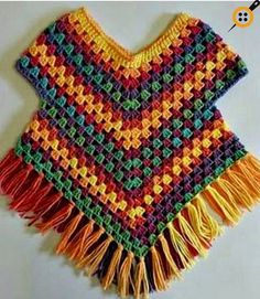 Poncho-Pullover-Muster von Addicted 2 The Hook , Poncho sweater pattern by Addicted 2 The Hook , . Point Granny Au Crochet, Poncho Au Crochet, Pull Crochet, Crochet Poncho Patterns, Crochet Girls, Crochet Baby Clothes, Crochet Stitches, Free Crochet, Crochet For Kids