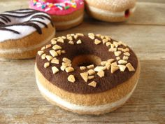 NEW Felt Donut Chocolate Glaze with Nuts by milkfly on Etsy
