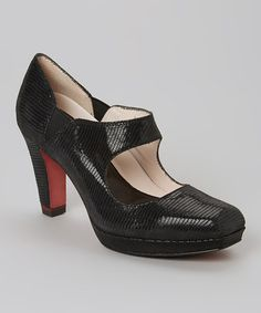 Look what I found on #zulily! Black Textured Tori Leather Pump by Oh! #zulilyfinds
