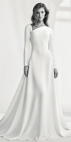 Charming Si Mian Tan Asymmetrical Neckline Natural Waistline A-line Wedding Dress With Beadings